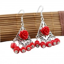 Retro Style Bohemia Earrings for Girls and Women 2 Pairs, Rose