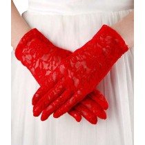 Hallow-out Lace Women Red Gloves Wedding/Party Bridal Gloves