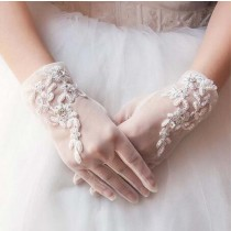 Lace Bridal Gloves Tulle Gloves for Wedding Beige Party Gloves