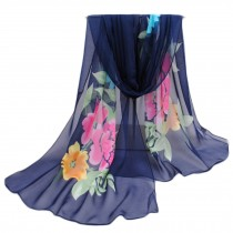 Women's Fashion Large Sunscreen Shawls Wraps Printed Flower Scarf