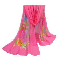 Women's Fashion Large Sunscreen Shawls Wraps Printed Flower Scarf, Pink