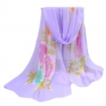 Lightweight Floral Print Spring Summer Scarf Sunscreen Shawls for Women, Purple