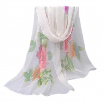 Lightweight Floral Print Spring Summer Scarf Sunscreen Shawls for Women, White