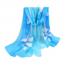 Lightweight Floral Print  Scarf Sunscreen Shawls for Women, Blue