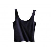 U-shape Collar Women Summer Short Camisole Cotton Soft Vest Navy Blue