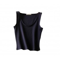Soft Cotton Women Summer Camisole Short Vest Navy Blue