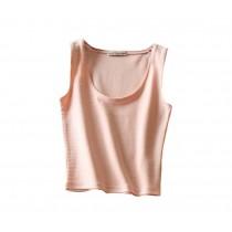 Soft Pink Women Camisole Short Vest Bare Midriff Vest