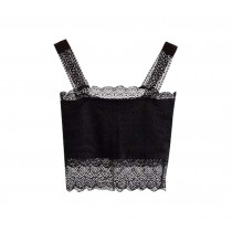 Black Lace Base Layer Women Vest Bare Midriff Women Camisole