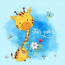 Square Cute Cartoon Children's Rugs,giraffe