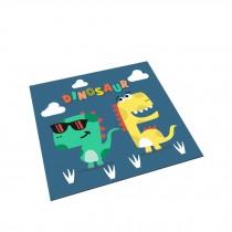 Square Cute Cartoon Children's Rugs, White dinosaur blue