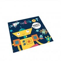 Square Cute Cartoon Children's Rugs, Dark grey robot