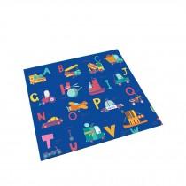 Square Cute Cartoon Children's Rugs, Orange Red Letter Spaceship