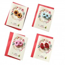 Set of 4 Merry Christmas Greeting Cards with Flowers Wish Cards Set