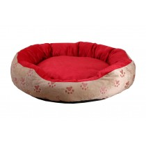 Detachable Dog Cat Beds with Dog Paw Pattern Round - Red