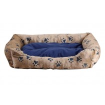 With Dog Paw Pattern Rectangular Soft Pet Beds - Blue