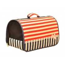 Pet Carrier for Dog Cats Small Puppies - Red and Blue Stripe