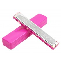 Pink 24 Hole Tremolo Harmonica for Beginner - Key of C