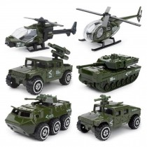 Children Toy Military Car Toy Model Car Military tank aircraft Set of 6