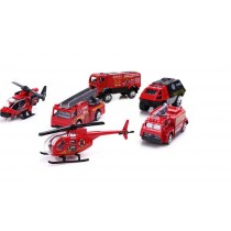 Children's toy military vehicle toy model car fire team 6 piece set