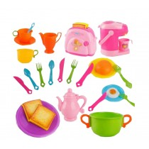 Pink Pretend Play Cookware Set Plastic Kitchen Accessories Set