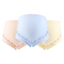Cotton Adjustable High-waisted Lace Maternity Underwear 3PCS, XXL
