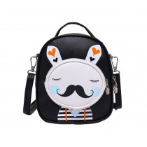 Kids Moustache Rabbit School Bag Cute Travel Shoulder Bag Backpack Purses Black