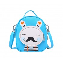 Kids Moustache Rabbit School Bag Cute Travel Shoulder Bag Backpack Purses Blue