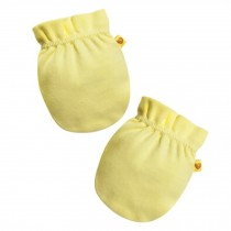 Soft Cotton Baby Gloves Newborn Mittens No Scratch Mittens,  Yellow