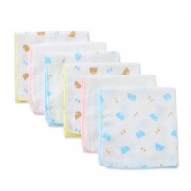 Set of 6 Baby Patterned Handkerchiefs Small Squares Gauze Cloth Handkerchief