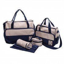 Functional Waterproof Diaper Tote Bags For Mummy With 5 Pieces Set Deep Blue