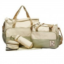 Functional Waterproof Diaper Tote Bags For Mummy With 5 Pieces Set Khaki