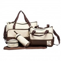 Functional Waterproof Diaper Tote Bags For Mummy With 5 Pieces Set Brown