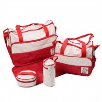 Functional Waterproof Diaper Tote Bags For Mummy With 5 Pieces Set Red