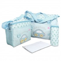 Functional Waterproof Diaper Tote Bags With Car Pattern 4 Pieces Set Light-Blue