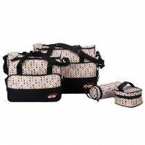 Waterproof Functional Diaper Tote Bags For Mum With 4 Pieces Set Black