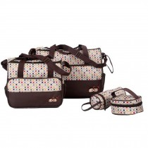 Waterproof Functional Diaper Tote Bags For Mum With 4 Pieces Set Brown