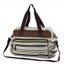 Smart Big Capacity Functional Diaper Bags For Mummy  Strips Green (42*31*15cm)