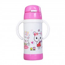 Straw Bottle to First Cup Trainer Stainless Steel Vacuum Flask,6+ Months,Pink