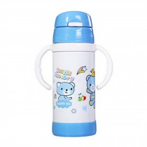 Straw Bottle to First Cup Trainer Stainless Steel Vacuum Flask,6+ Months,Blue
