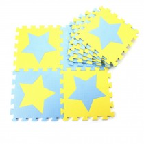 Colorful Waterproof Baby Foam Playmat Set-10pc, Blue/ Yellow Five-pointed Star