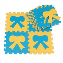 Colorful Waterproof Baby Foam Playmat Set-10pc, Blue/Yellow Bow