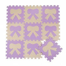 Colorful Waterproof Baby Foam Playmat Set-10pc, Beige/Purple Bow