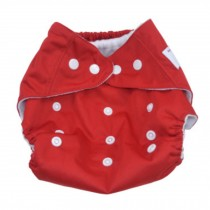 Summer Grid Baby Cloth Diaper Cover Adjustable Size Red