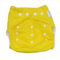 Summer Grid Baby Cloth Diaper Cover Adjustable Size Yellow