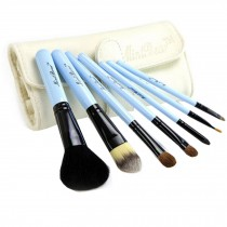 Beginner 7-Pieces Blue Portable Cosmetic Brush Kit Makeup Brushes Set+White Case