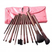 12-Pcs Portable Animal Wool Cosmetic Brush Kit Makeup Brushes Set+ Case,Pink
