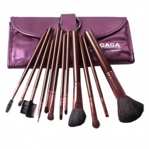12-Pcs Portable Animal Wool Cosmetic Brush Kit Makeup Brushes Set+ Case,Purple