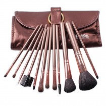 12-Pcs Portable Animal Wool Cosmetic Brush Kit Makeup Brushes Set+ Case,Coffee