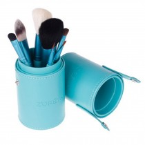 Portable 7-Pcs Barrelled Cosmetic Brush Kit Makeup Brushes Set-Blue