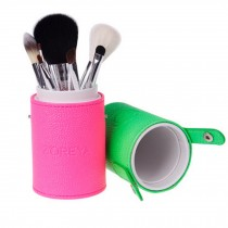 Portable 7-Pcs Barrelled Cosmetic Brush Kit Makeup Brushes Set-Pink/Green